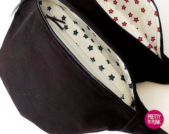 Fanny Pack/Bum Bag/Belt Bag/Sling Bag (Black Canvas with Pink OR Teal Stars Lining)