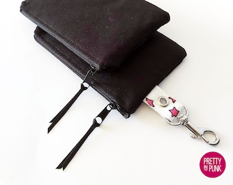 Mini Coin Purse/Zipper Pouch (Black Canvas with Pink OR Teal Stars Lining)