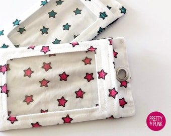 I.D. Holder (Pink OR Teal Stars on White)