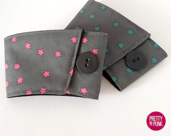 Coffee Cup Sleeve/Cosy (PINK or TEAL Stars on Grey)