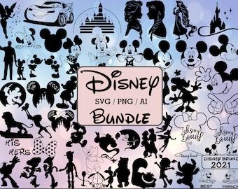 Disney SVG, 50+ Disney Bundle Svg Png, Cricut Mickey Bundle, Disney SVG, Frozen svg, Winnie svg, Cricut Printable Disney Clipart silhouette
