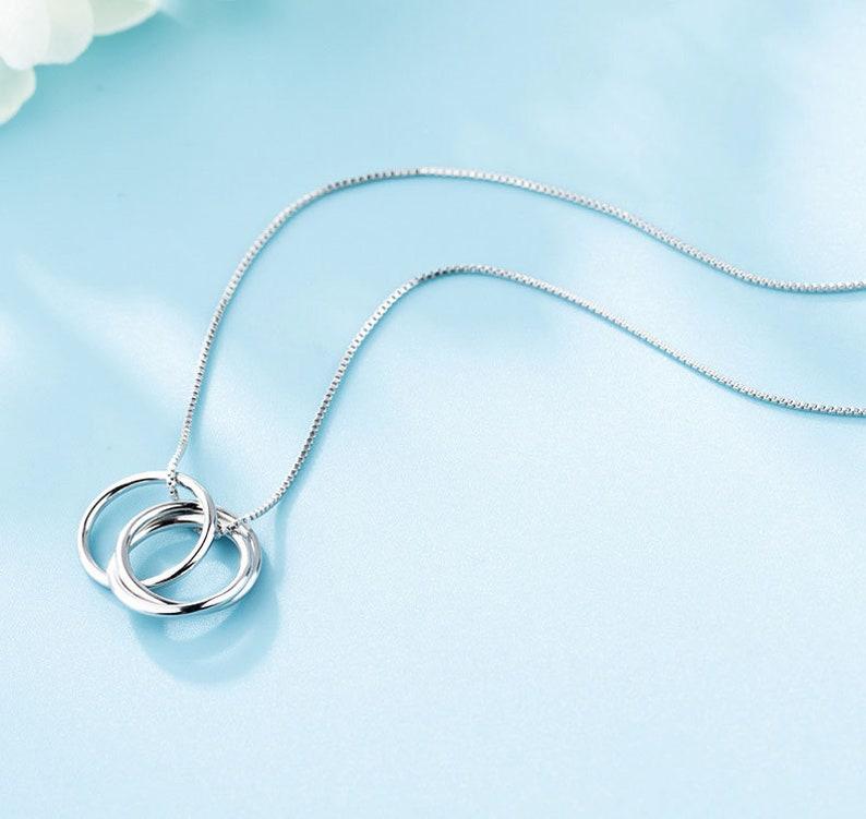 Silver Circle Necklace Circle Pendant Necklace for Women Sterling Silver Three Circle Necklace Circle Pendant Necklace
