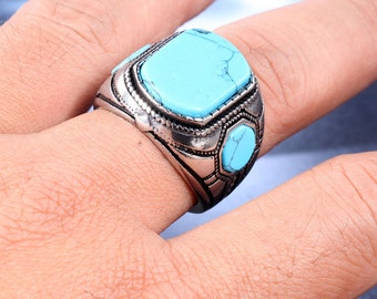 Stainless Steel Men's Turquoise Ring, Vintage Turquoise Ring, Turquoise Mens Ring, Turquoise Signet Ring Jewelry