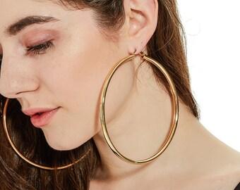110mm Large Gold Hoop Earrings, Big Hoop Earrings, 14k Gold Plated Hoop Earrings for Women