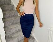 Indigo Denim Pencil Skirt