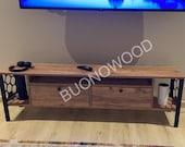 Wooden TV Unit Atlantic Pine with Black Metal Legs, Unique Tv Cabinet, Farmhouse Tv Console, Home Decor Tv Storage with Shelves