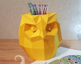 Low poly PDF template 3D papercraft owl pen holder cute