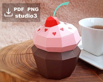 Easy template papercraft box Cupcake, printable PDF, PNG, studio3 for Silhouette Cameo, 3D paper cherry cupcake
