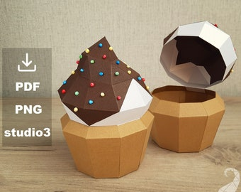 Papercraft chocolate cupcake box, PDF and PNG printable templates, studio3 files for Silhouette Cameo