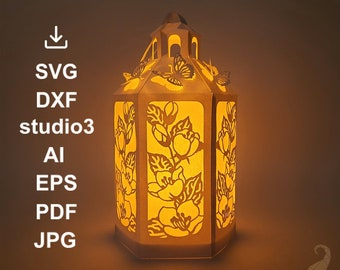 Lantern SVG DXF studio3 EPS cut files for Cricut, Silhouette and other cutters. Lightbox with flowers and butterflies