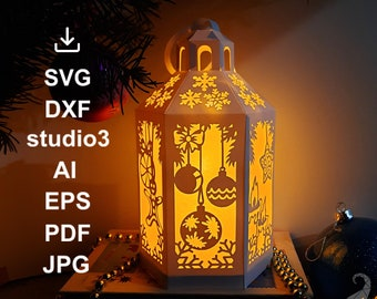 Lantern SVG DXF studio3 EPS cut files for Cricut, Silhouette and other cutters. New Year, Christmas light box