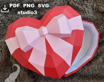 Template gift box Heart for Birthday, Valentine's Day, 3D papercraft heart, low poly heart 3D, studio3 for Silhouette Cameo