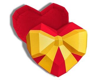 Low poly heart box PDF template, 3D papercraft heart box, low poly heart 3D pattern, DIY Valentine box