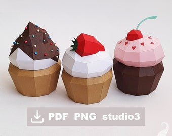 Papercraft cupcake boxes templates, strawberry, chocolate, cherry, PDF and PNG printable templates, studio3 files for Silhouette Cameo