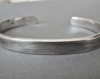 MENS CUFF /  Thick Sterling Silver cuff, Rustic bangle, Personalised , Hand stamped personalization