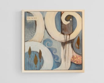 Beach Art, Framed Original Art, Abstract Acrylic Painting, Beach Theme in Blue/White, Mixed Media Acrylic, 12x12 Framed Art (Frame Incl.)