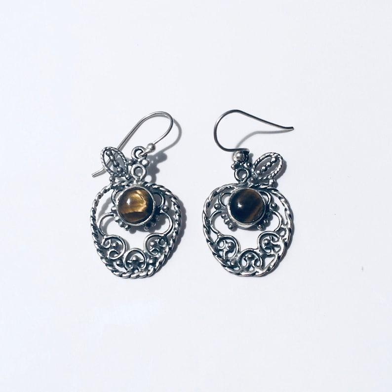 Sterling silver Silver earrings Gift Earrings Silver Sterling silver earrings Tiger\u2019s eye earrings Apple earrings Tiger\u2019s eye