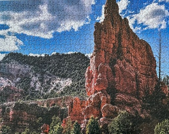 Jigsaw puzzles for adults .1000 piece jigsaw puzzles. Unique large scenic red rock in Dixie National Forest park, Utah, US.  Great gifts.