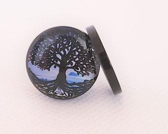 Single Flare - PSS13 Aqua Tree of Life Stainless Steel Plugs Pair