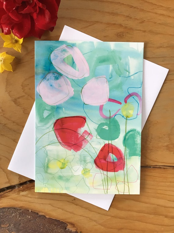 Modern floral abstract Greeting Card
