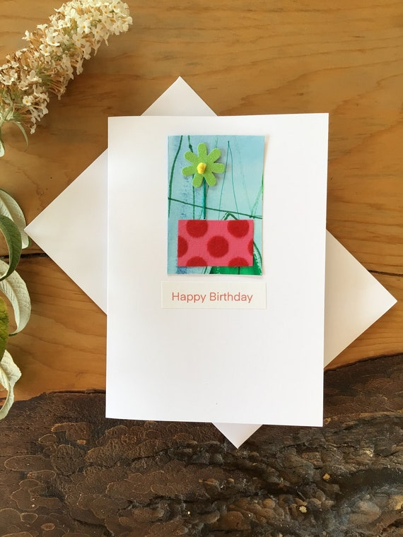 Mixed Media handmade flower in a pot Greeting Card