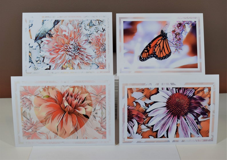 Frameable Blank Greeting Cards with Envelopes Butterfly Floral Card Set Purple Cone Flower Dahlias