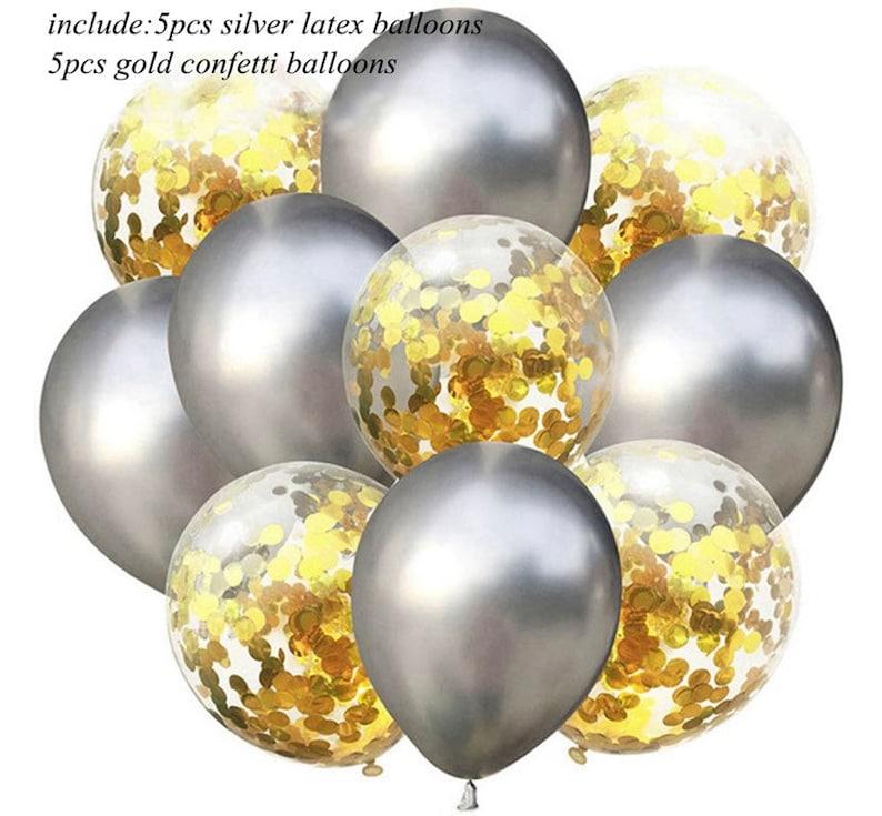 Wedding Party Birthday Supplies 10pcs 12\u201d Latex Ballooms 5 Plain Latex Balloons And 5 Latex Confetti Balloons