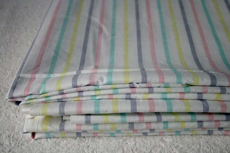 4.9 yards of High Quality Vintage Rainbow Striped Natural Cotton Fabric.