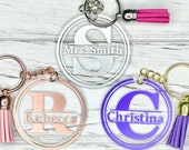 Personalized Custom Keychain, Monogram Name Keychain, Gift for Her Him Boss, Mother s Day Gift, Bridal Gift, Teacher Gift, Thank You Gift