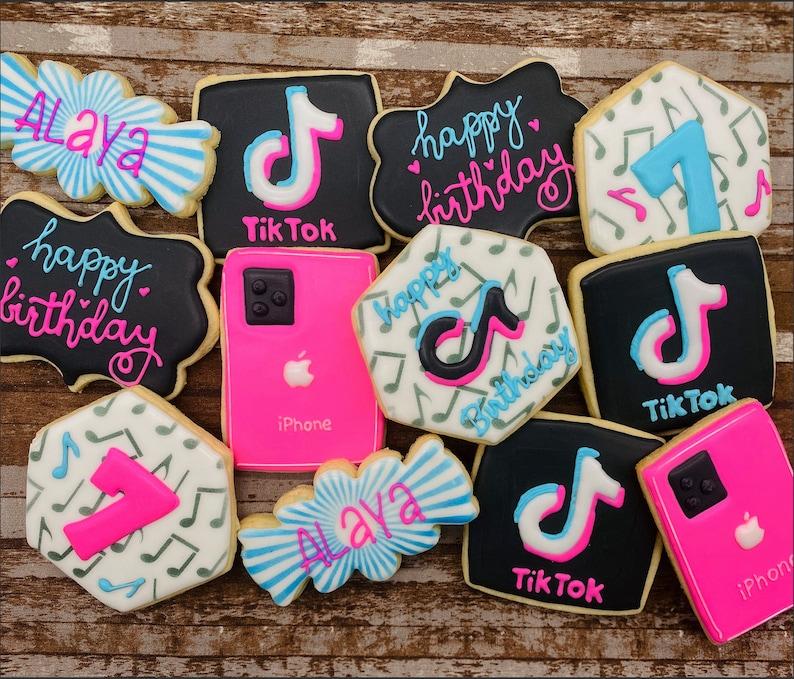 Tik Tok Custom Cookies Tok Tok Birthday Viral Music Dessert image 0