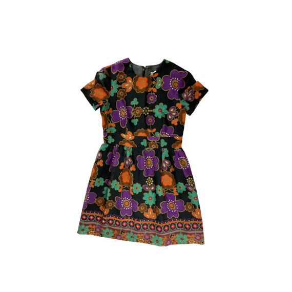 70s Yellow /& Orange Paisley Shift Dress Vintage Pattern Printed Floral Flower Sleeveless 1970s Luau Summer Size Small-Medium