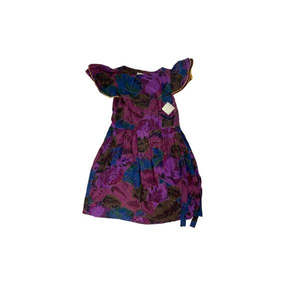 80s Floral Silk Cocktail Dress