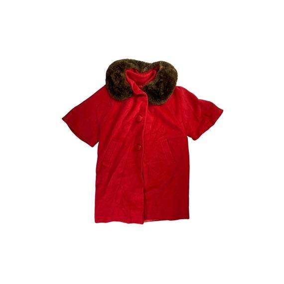 60s Mod Bright Faux Fur Collar Coat