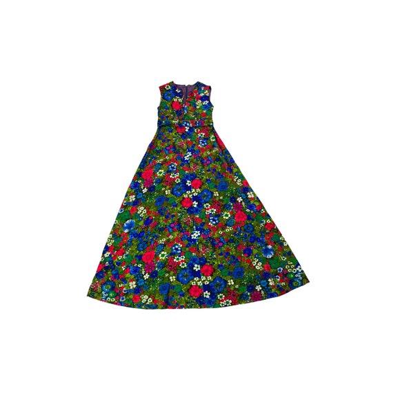 70s Mod Floral Maxi Dress
