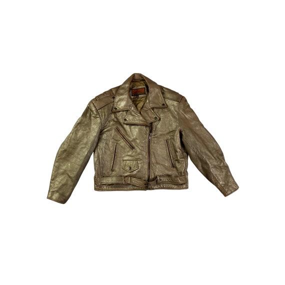 80s Bronze Leather Motorcycle Jacket