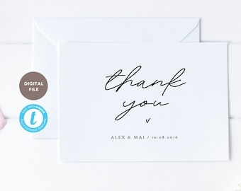 thank you card for wedding, 5x7 wedding thank you post card, wedding printable, editable pdf, templett template KELLY COLLECTION