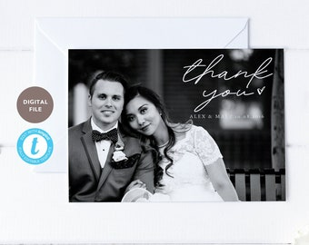 thank you photo card for wedding, 5x7 wedding thank you post card, wedding printable, editable pdf, templett template KELLY COLLECTION