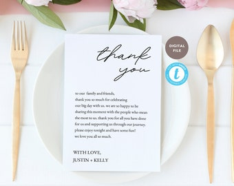 thank you card for dinner reception wedding, dinner menu template, wedding printable, editable pdf, templett template KELLY COLLECTION