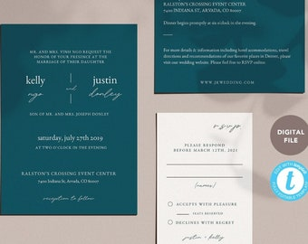 simple teal elegant wedding invitation suite, wedding invites, editable invites, editable pdf, templett template KELLY COLLECTION
