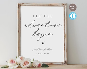 let the adventure begin wedding sign, wedding sign template, hashtag sign, editable pdf, templett template KELLY COLLECTION