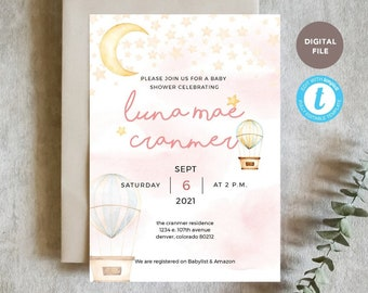 moon baby girl shower invitation printable, editable pdf, templett template