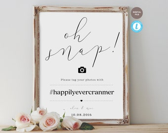 oh snap wedding hashtag sign, wedding sign, capture the love, hashtag sign, editable pdf, templett template MONI COLLECTION