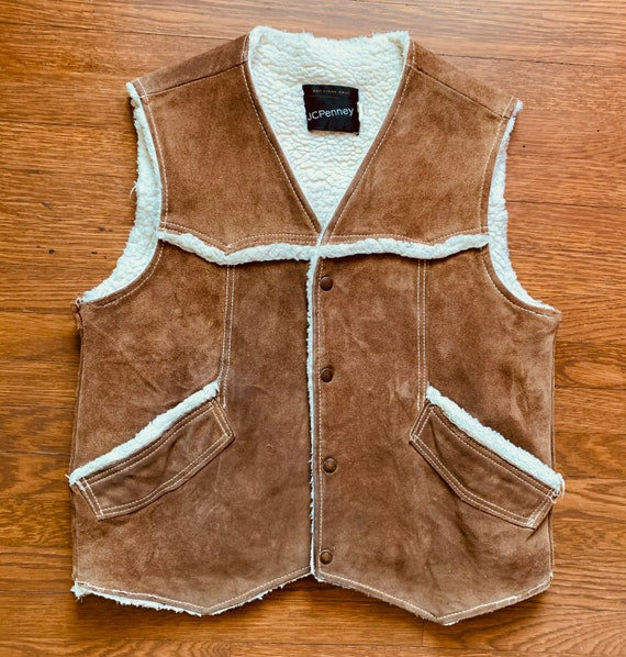 JCPenney Suede Sherpa Vest
