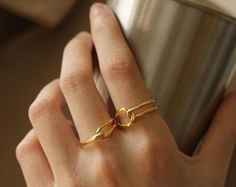 18K Double Knot Vintage Ring - Adjustable Chain Ring - Knotted Promise Ring - Gold Filled Friendship Ring - Gift for Her - Anniversary Gift