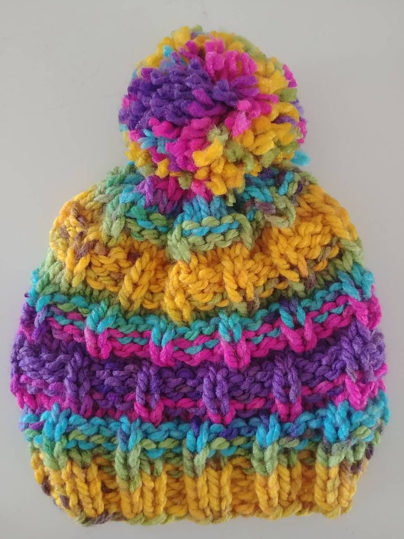 Children/'s AcrylicWool Rainbow Knitted Hat with Pompom Features Buttons for Mask Attachment