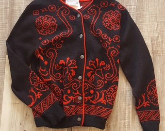 Pendleton Petite Vintage 50/'s 100/% Pure Wool Red//Blue Sweater Dog Applique XS