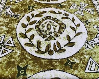 Tapa Hawaiian Aloha Vintage Hawaiian Cotton Sateen Circle Tablecloth by Spoonflower Tiki Round Tablecloth South Seas by woodyworld