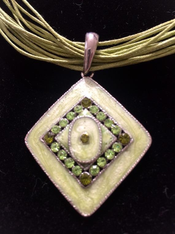 Vintage French Enamel Pendant Necklace, Jade Green