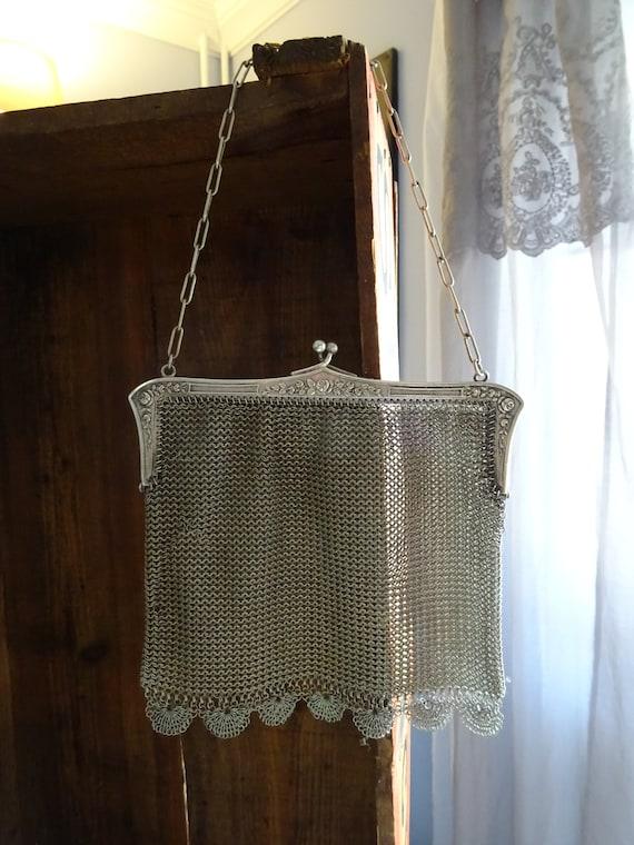 Silver Antique Bag, Opera Bag, Vintage, Art Nouvea