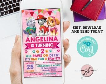 Girl invitation, Electronic Invitation,  Birthday Invitation, Girl mobile invitation, Digital CORJL